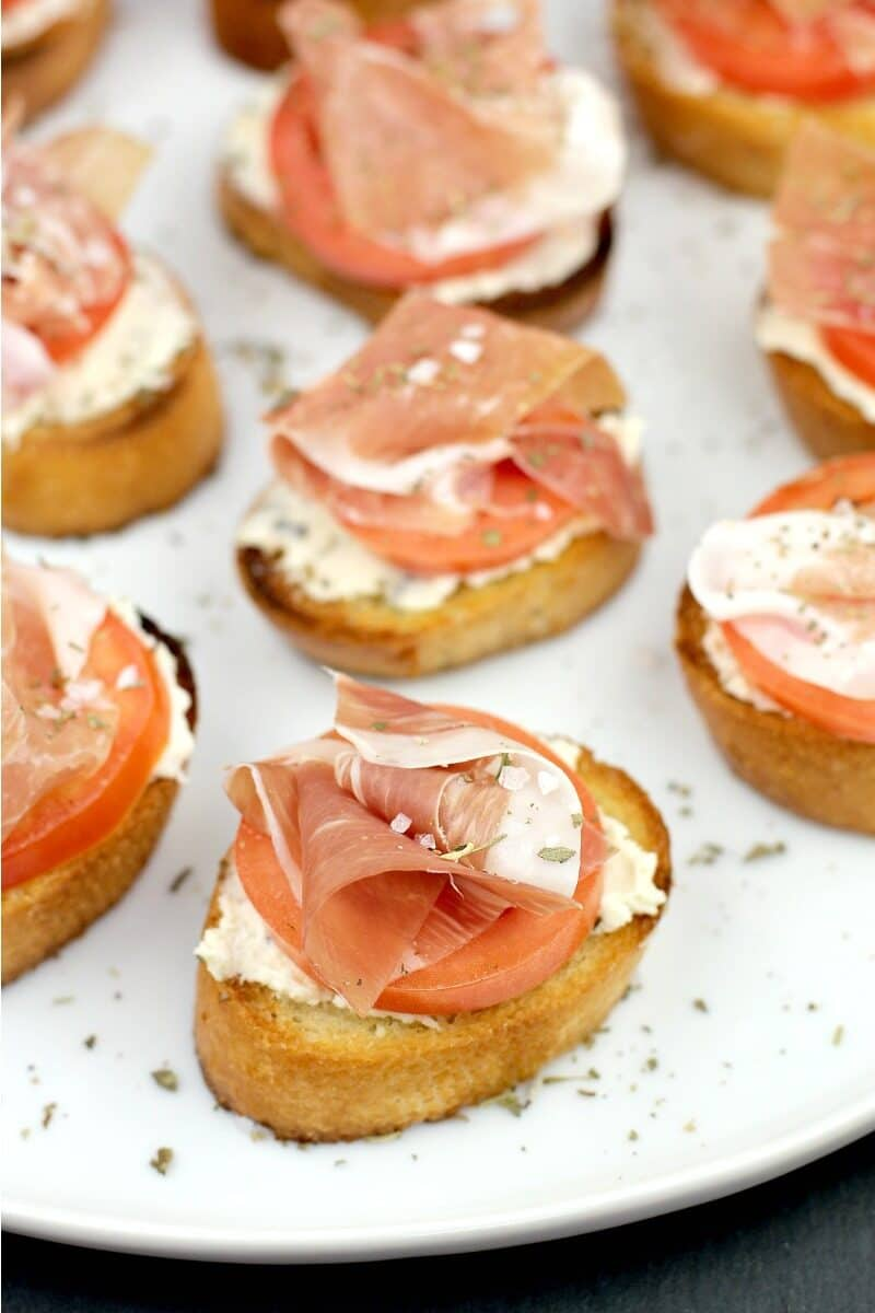 prosciutto crostini on a plate