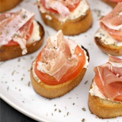 close view of an assembled crostini