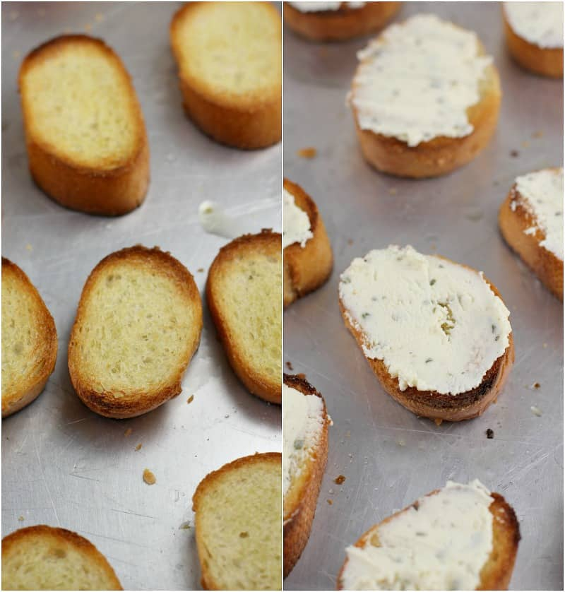 collage of 2 photos: left, toasted bread slices; right, bread slices with Boursin spread on top