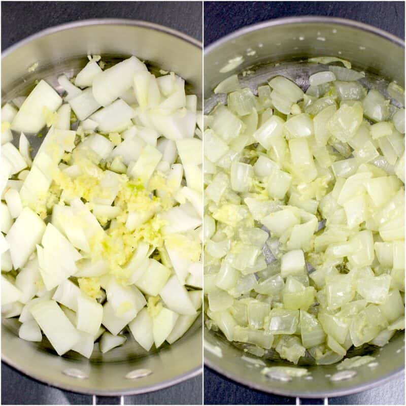 collage of 2 photos: left, raw onion and garlic in saucepan; right, cooked onion and garlic in saucepan