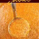 image for sharing on Pinterest of ladle full of sauce with text overlay of recipe title Huevos Ranchero Sauce