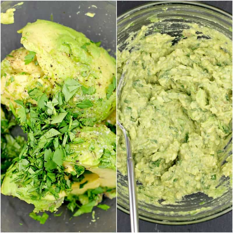 collage of 2 photos: left, guacamole ingredients in a glass bowl; right, guacamole ingredients mixed together with a fork
