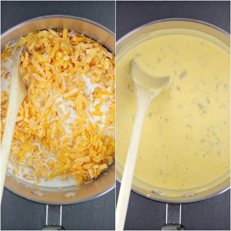 collage of 2 photos: left, smoked cheddar cheese and half and half in a sauce pan with wooden spoon; right, melted combined queso