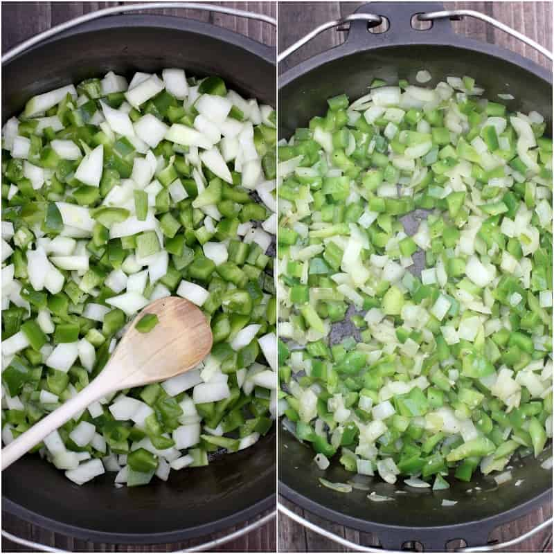collage of 2 photos: left, uncooked onion and bell pepper in Dutch oven with wooden spoon; right, cooked veggies