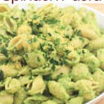 image for pinterest sharing with text overlay recipe title Avocado Spinach Pasta