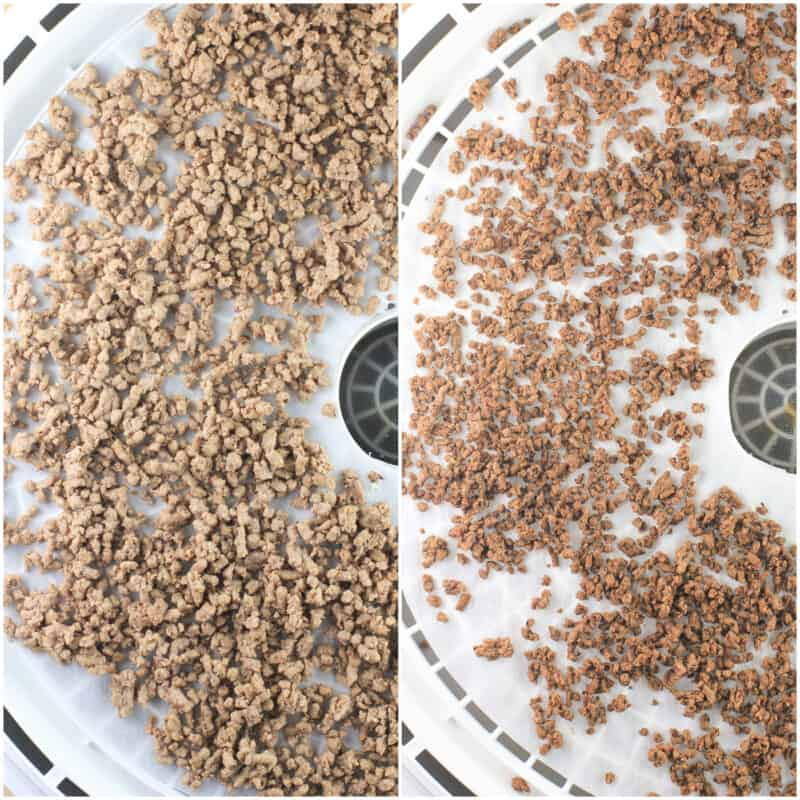 collage of 2 photos: left, cooked ground beef; right, dehydrated beef