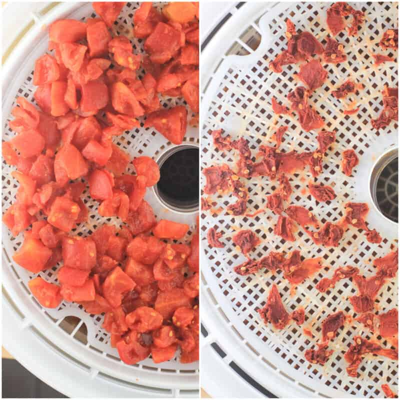 collage of 2 photos: left, diced tomato; right, dehydrated tomato