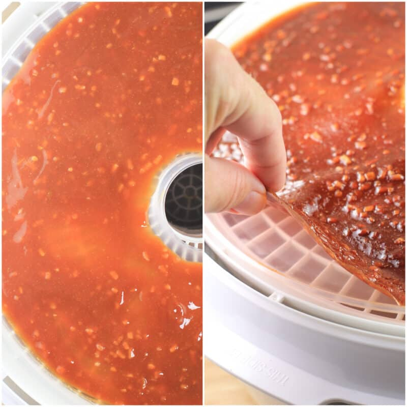 collage of 2 photos: left, mixed sauce; right, dehydrated sauce leather