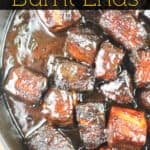 image for pinterest with text overly recipe title pork belly burnt ends