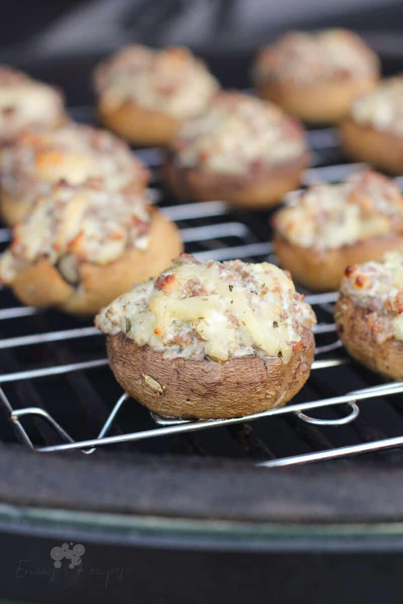 grilled stuffed mushrooms on grill grate