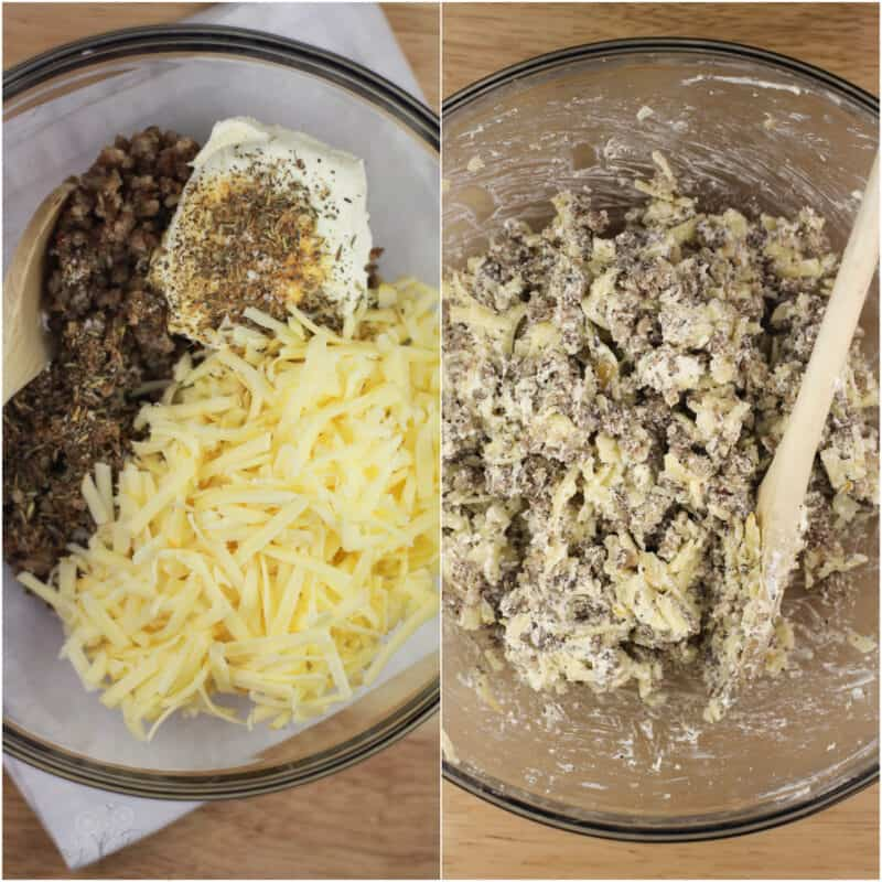 collage of 2 photos: left, filling ingredients; right, combined filling ingredients in glass bowl on wood surface