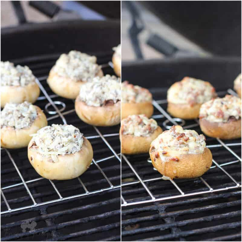 collage of 2 photos: left, uncooked mushrooms on big green egg; right, cooked mushrooms on grill