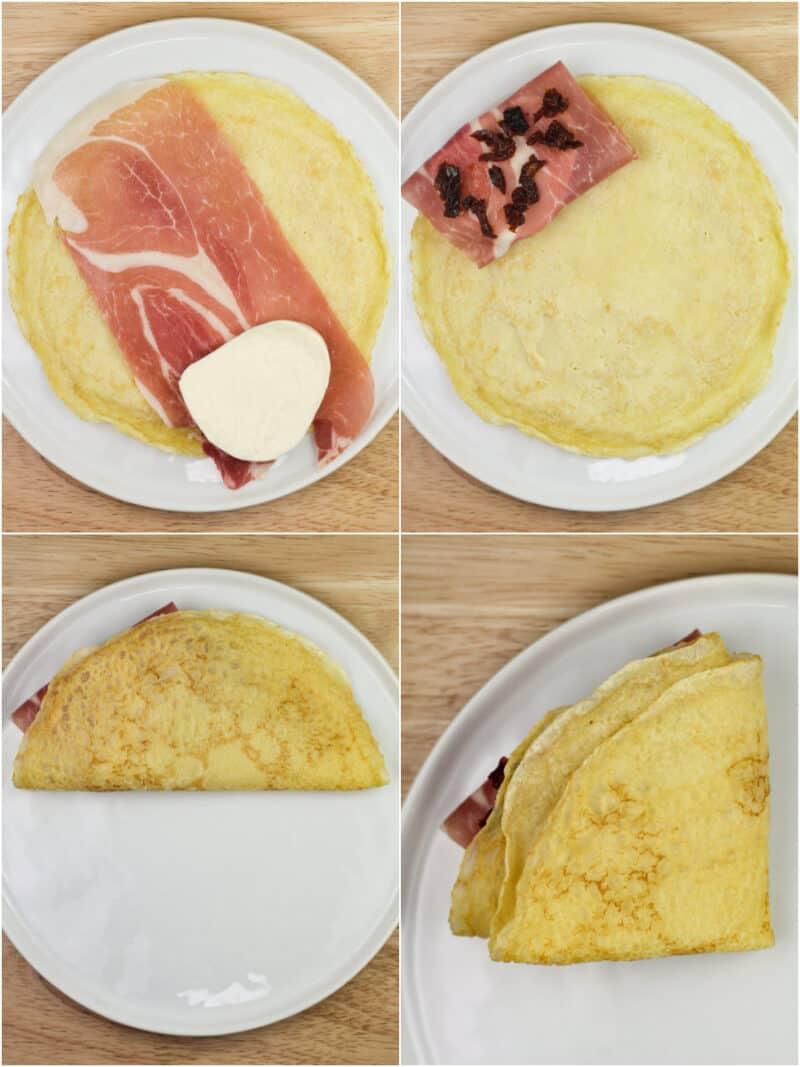 collage of 4 photos showing progression of folding crepe over prosciutto wrapped mozzarella