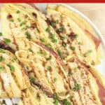 image for pinterest of prepared recipe with text overlay Crepes with Prosciutto and Cheese