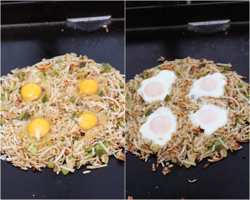 collage of 2 photos; left, raw eggs on browned potatoes; right, cooked eggs on potatoes