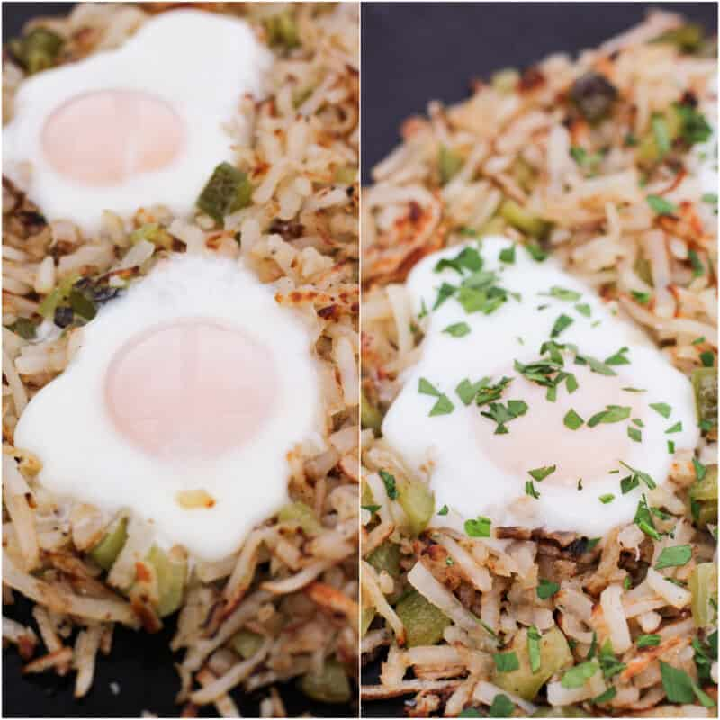 collage of 2 photos; left, 2 cooked eggs on hash browns; right, cooked eggs garnished with parsley on hash browns
