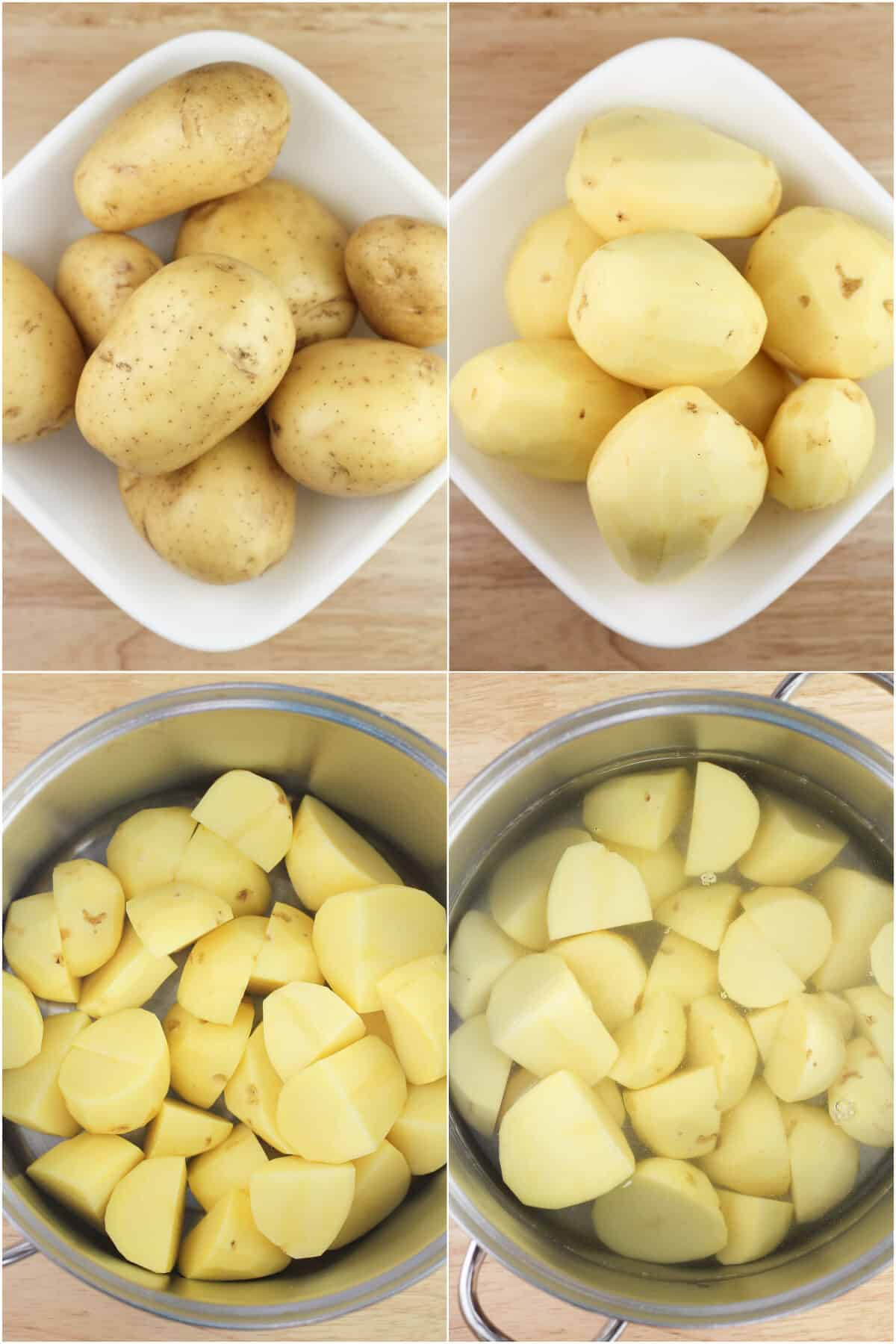 collage of 4 photos: Yukon potatoes; peeled potatoes; quartered potatoes in pot; potatoes in pot covered with water