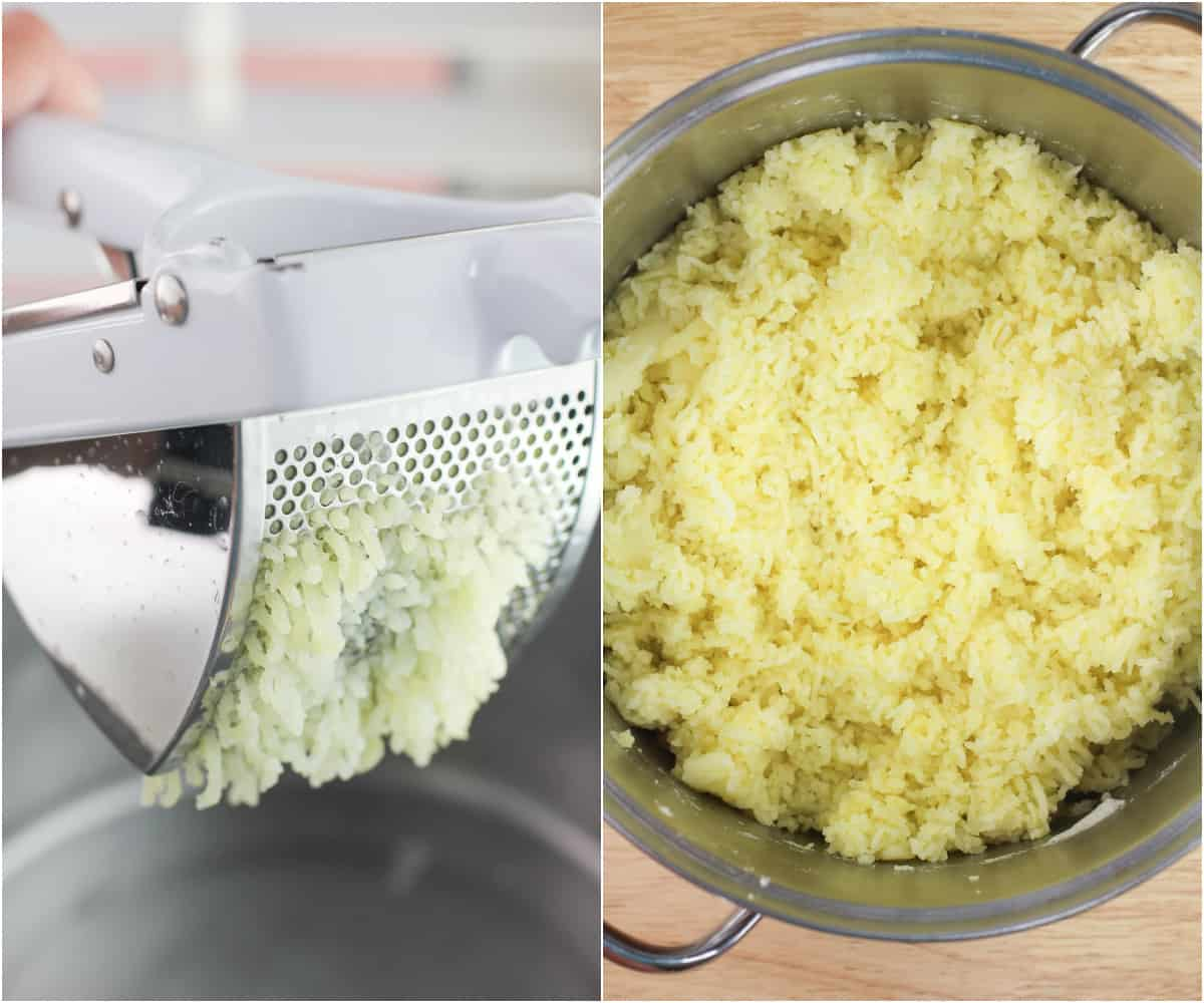 collage of 2 photos; left, potato passing through potato ricer; right riced potatoes in pot