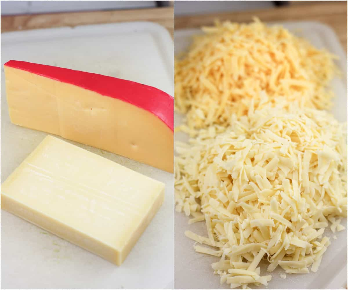 collage of 2 photos: left, blocks of Gouda and Guyere cheeses; right, both cheeses shredded