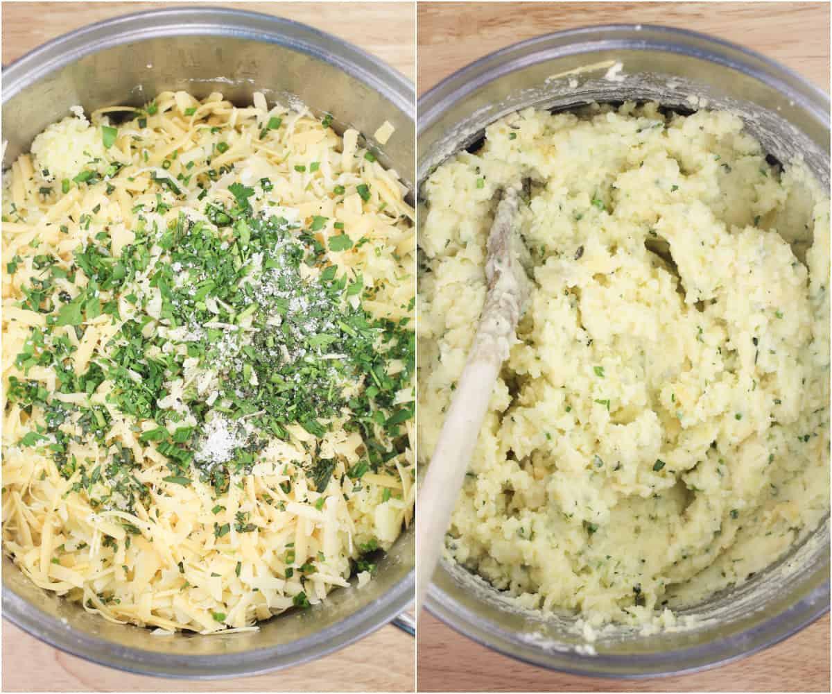 collage of 2 photos: left, ingredients added to potatoes; right, ingredients stirred together with wood spoon
