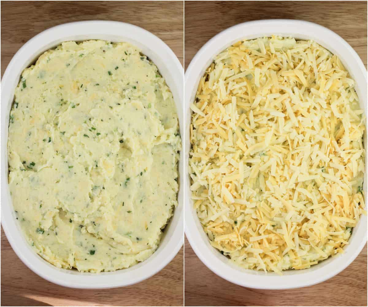 collage of 2 photos: left, mashed potatoes in bake dish; right, mashed potatoes with cheese