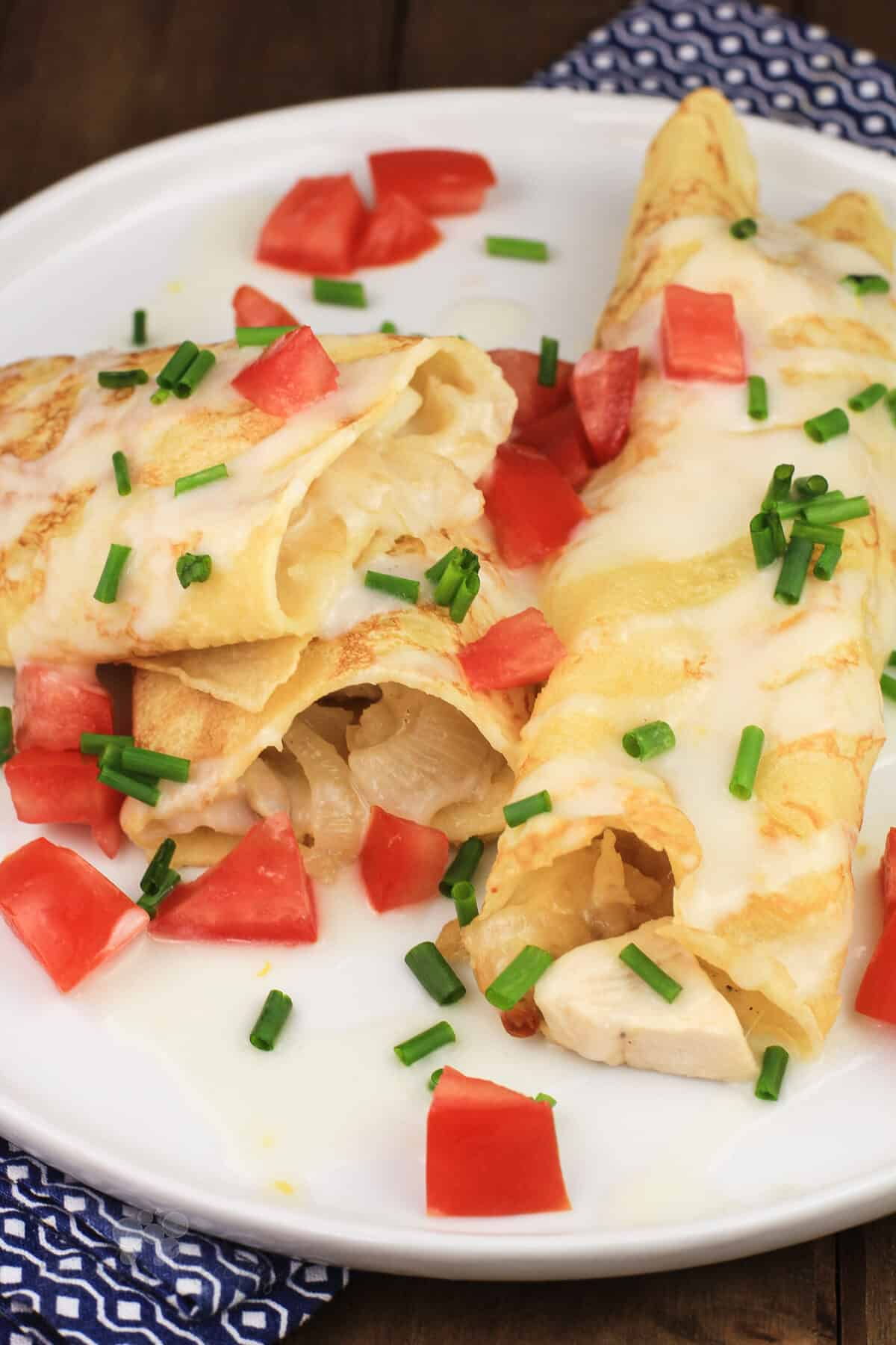 2 prepared crepes on white dish