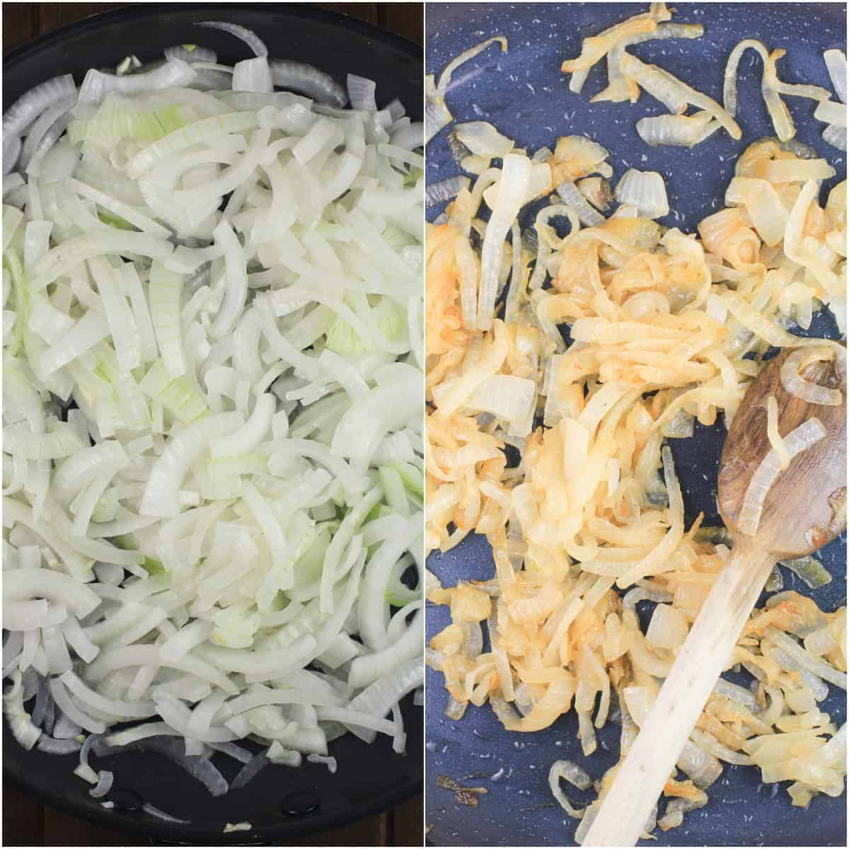 collage of 2 photos showing uncooked and cooked caramelized onion in skillet