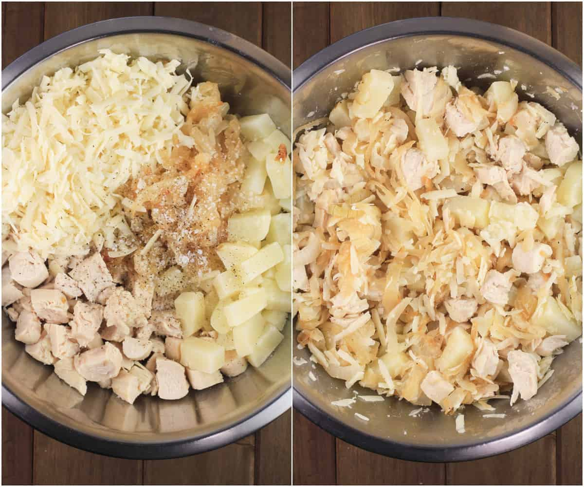 collage of 2 photos showing crepe filling ingredients in bowl and then mixed together