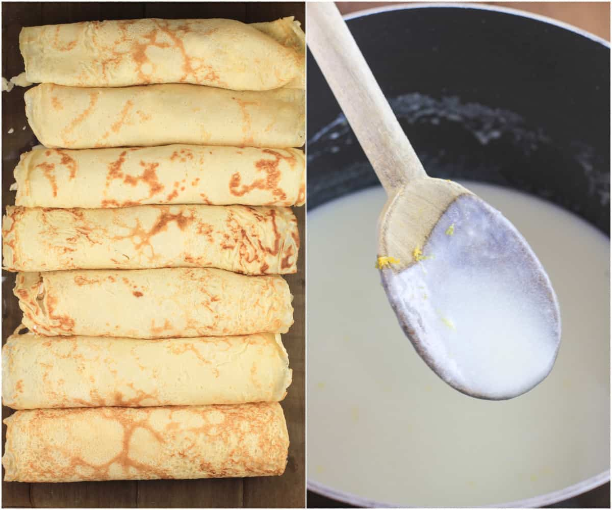 collage of 2 photos: left, crepes in pan before baking; right, wood spoon coated with lemon bechamel sauce