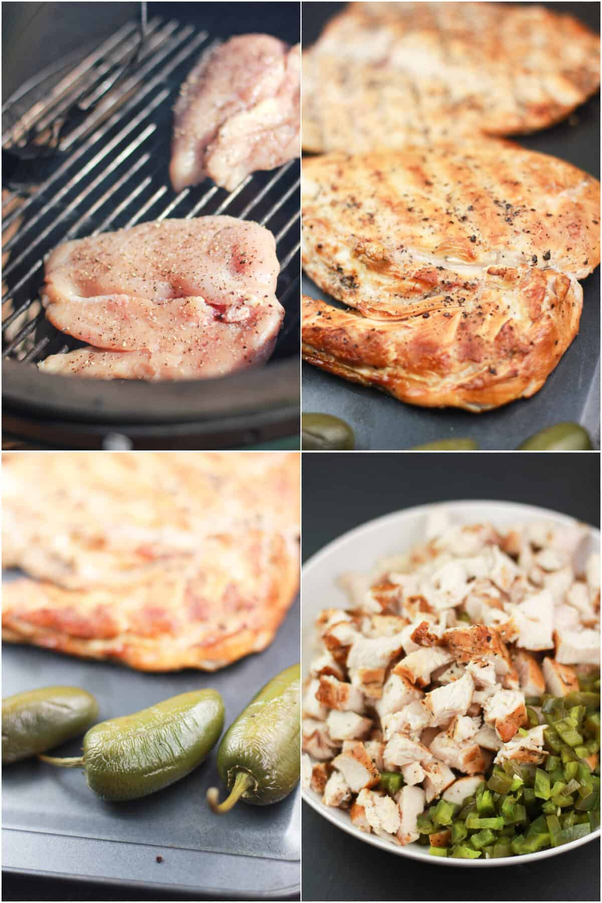 collage of 4 photos, clockwise: uncooked chicken on grill grate; cooked chicken on bake sheet; smoked jalapenos on bake sheet; chopped chicken and jalapeno in white bowl