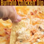 image for pinterest sharing with text overlay recipe title Smoked Buffalo Chicken Dip