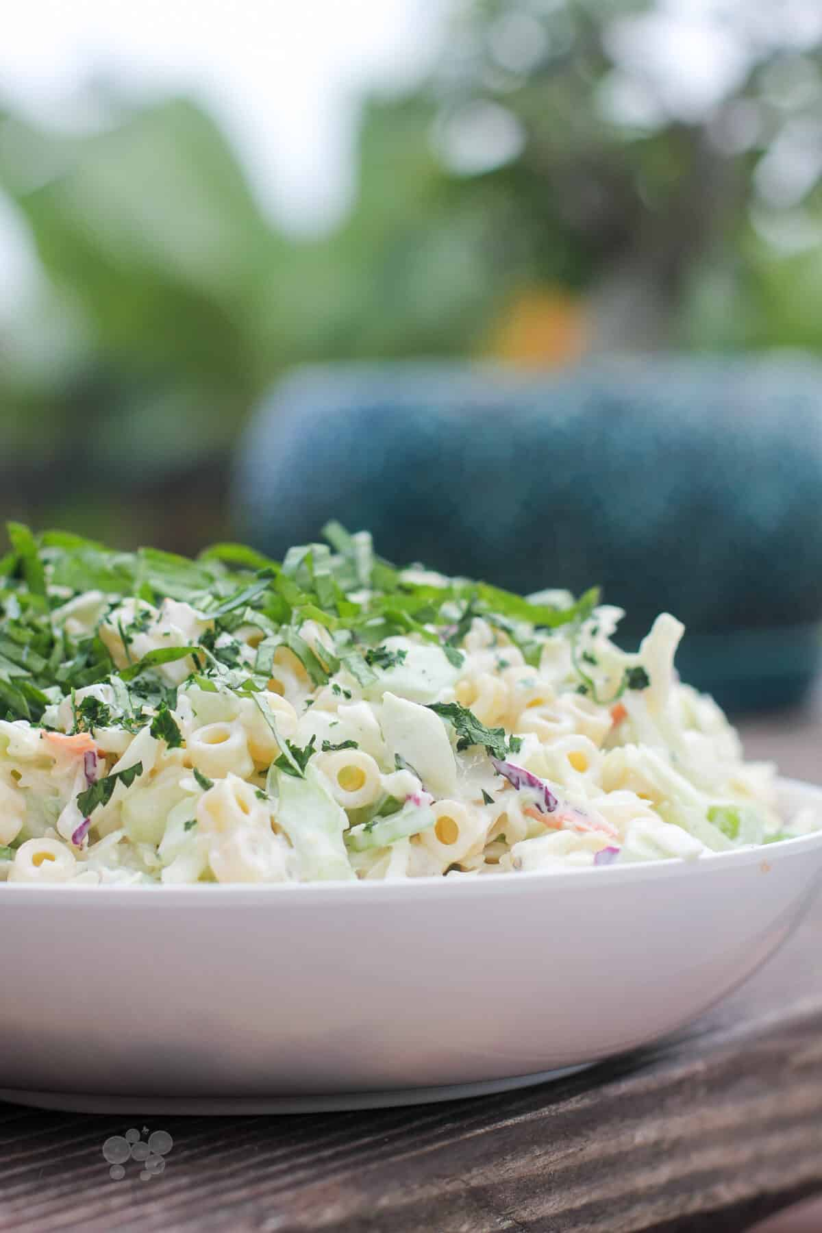 coleslaw pasta salad in white bowl, side view on wood table
