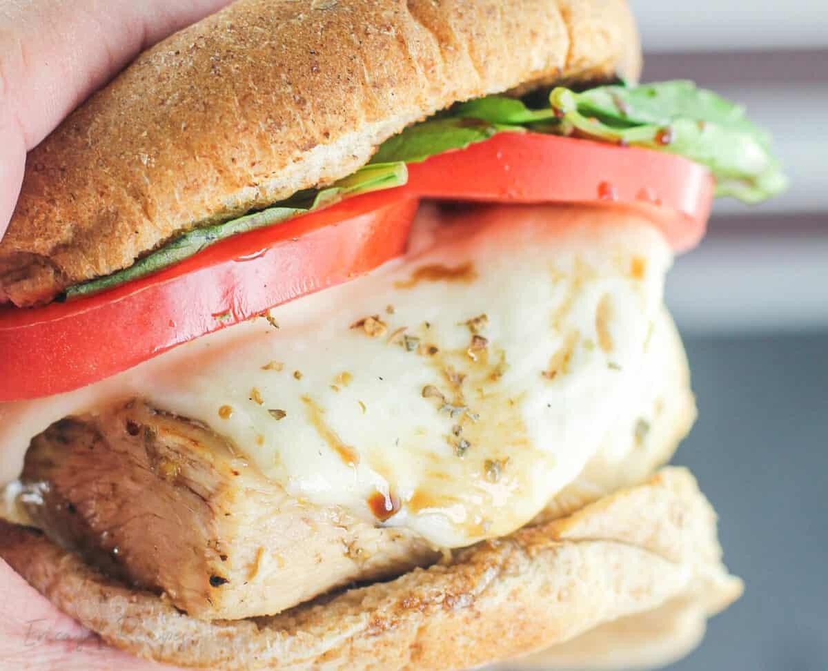 close view of chicken sandwich