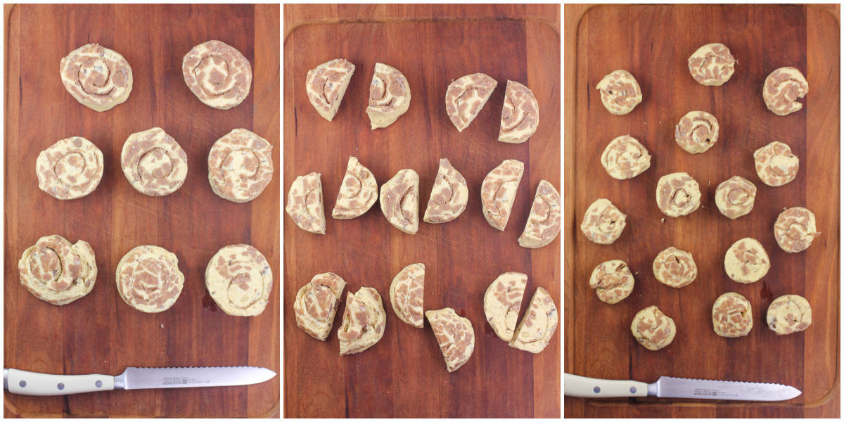 collage of 3 photos: dough from package; each dough piece cut in half; half piece of dough formed into new disk
