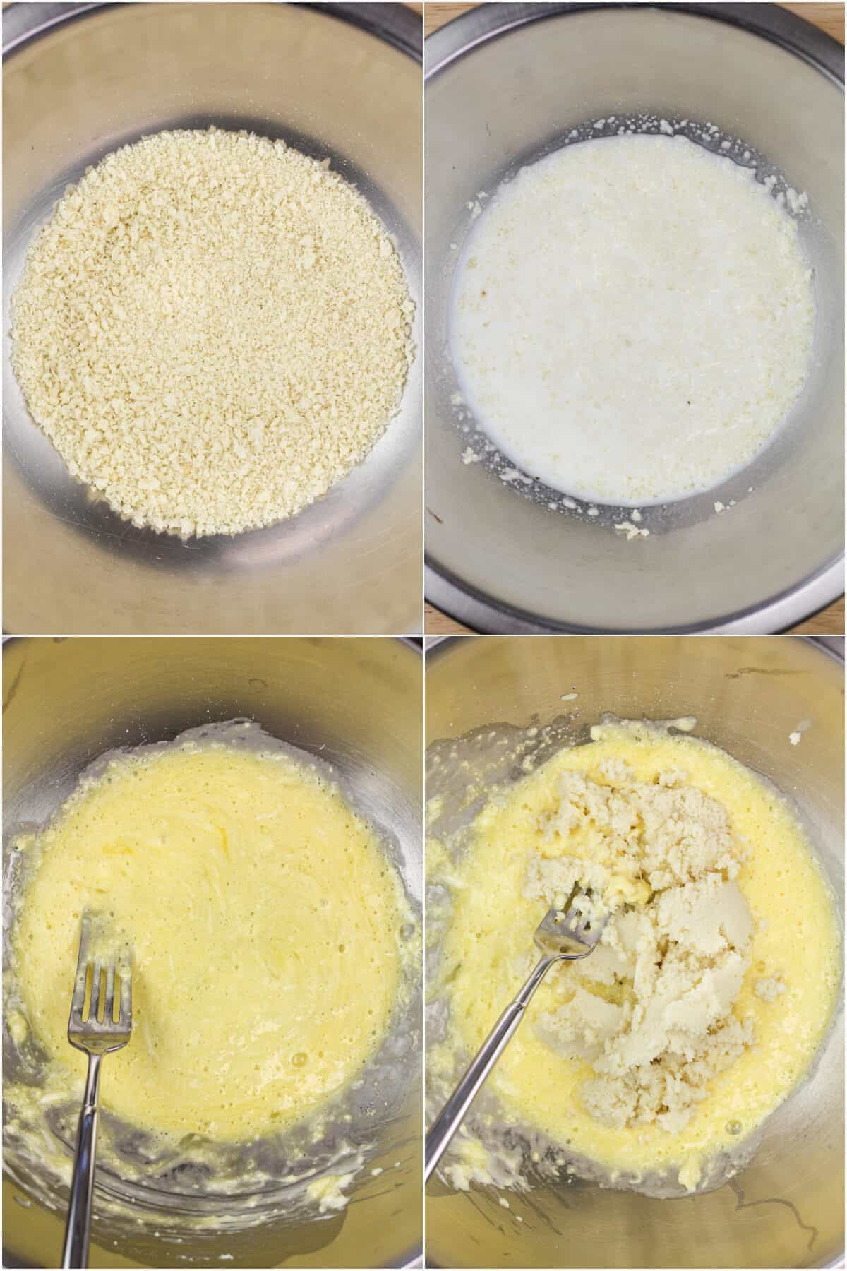 collage of 4 photos showing how to make the binder; panko in metal bowl; milk added to panko; egg mixture; panko added to egg mixture