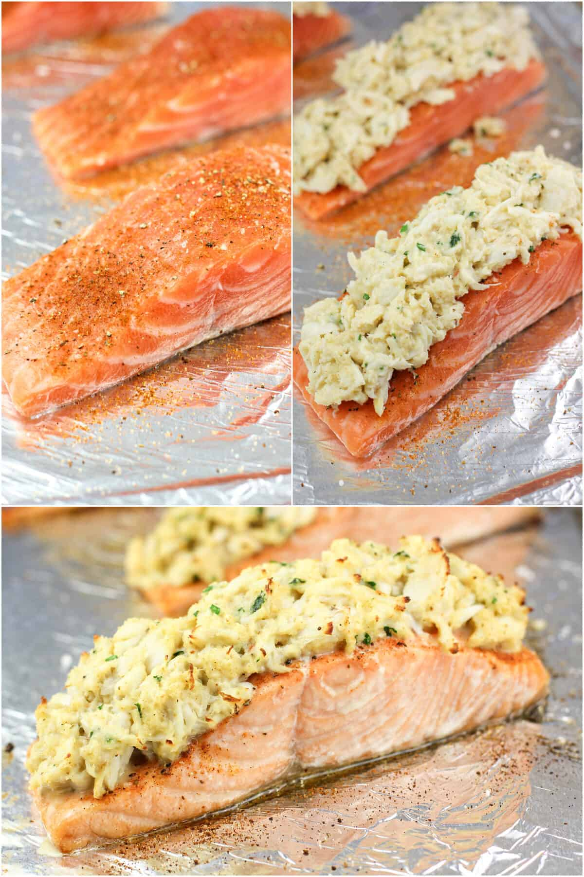 collage of 3 photos: uncooked seasoned salmon on bake sheet; salmon topped with stuffing; cooked stuffed salmon