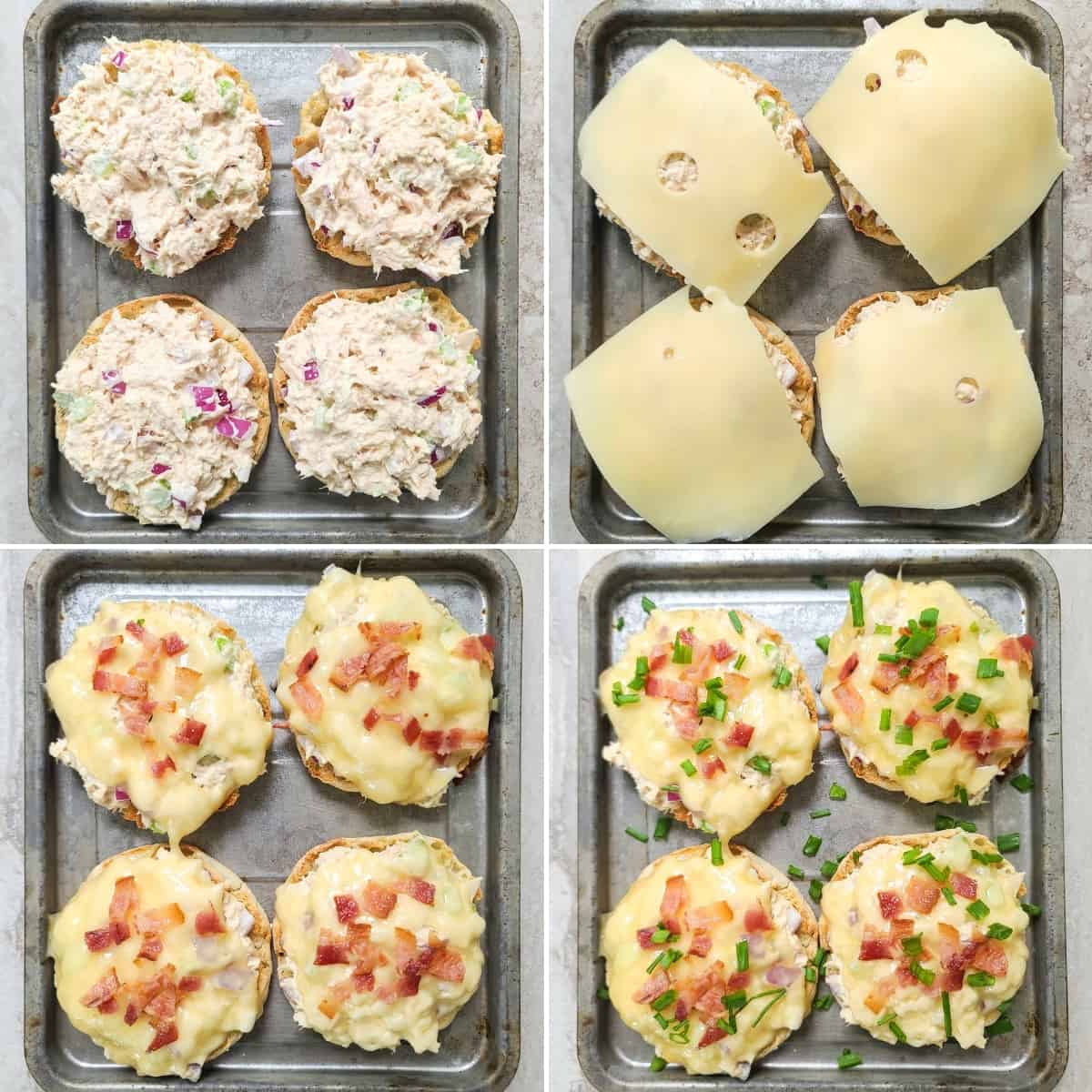collage of 4 photos showing assembly of recipe: tuna salad on 4 halves of English muffins; topped with cheese; topped with bacon; topped with chives