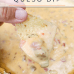 image for pinterest with text overlay recipe title smoked queso dip