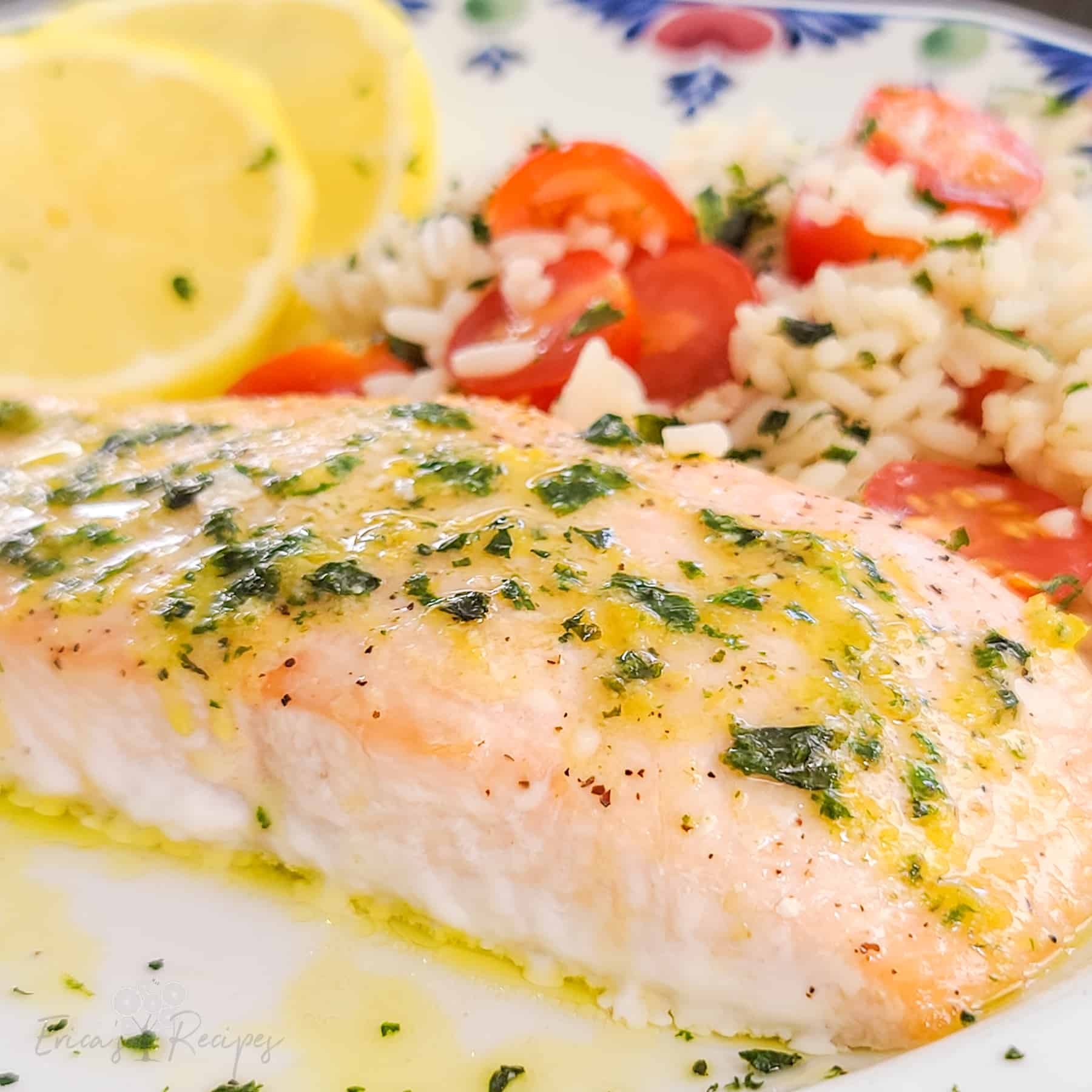 Toaster Oven Salmon with Lemon Basil Butter