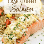 image for pinterest with text overlay crab stuffed salmon