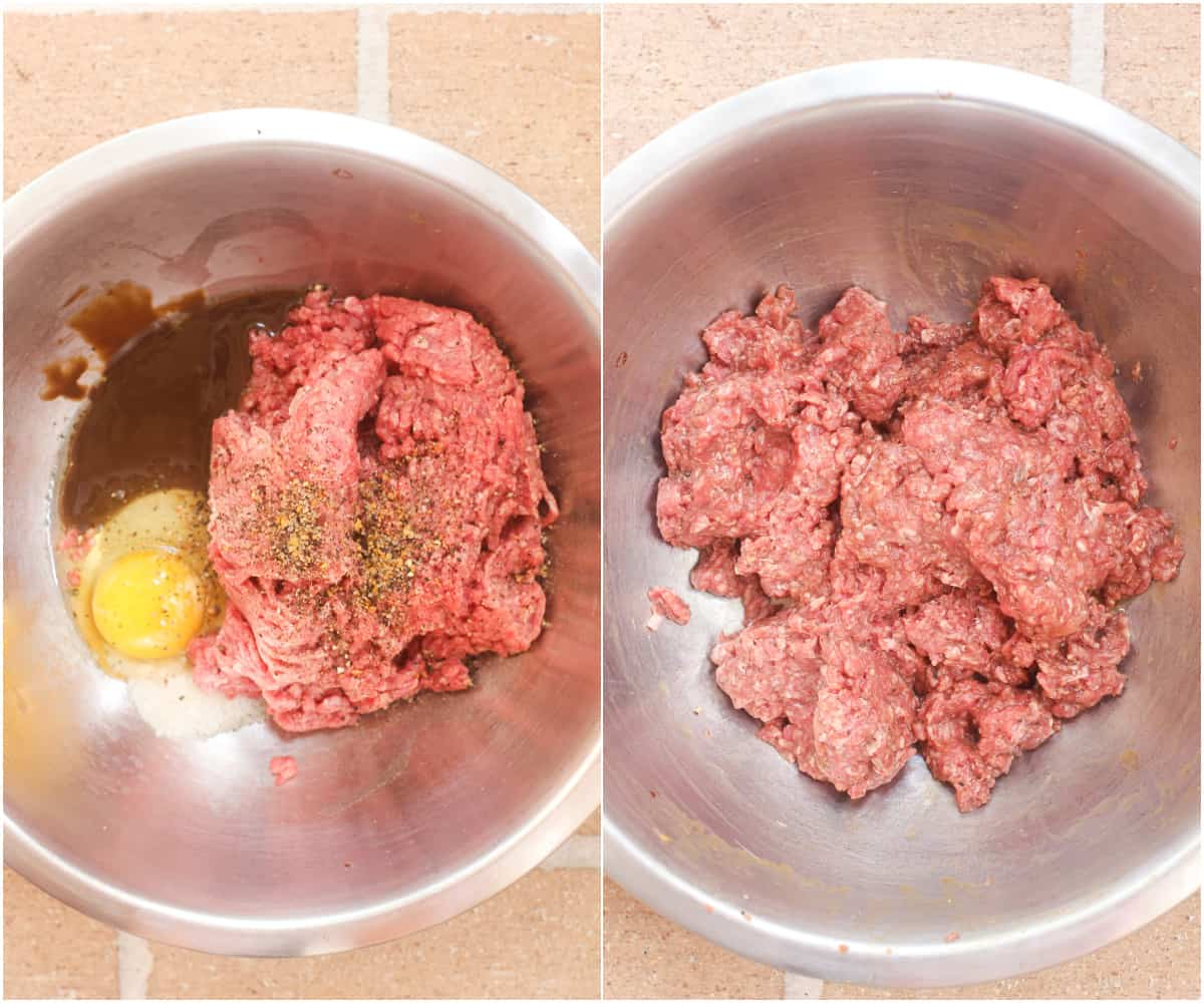 collage of 2 photos: ingredients for the beef mixture in metal bowl; ingredients combined