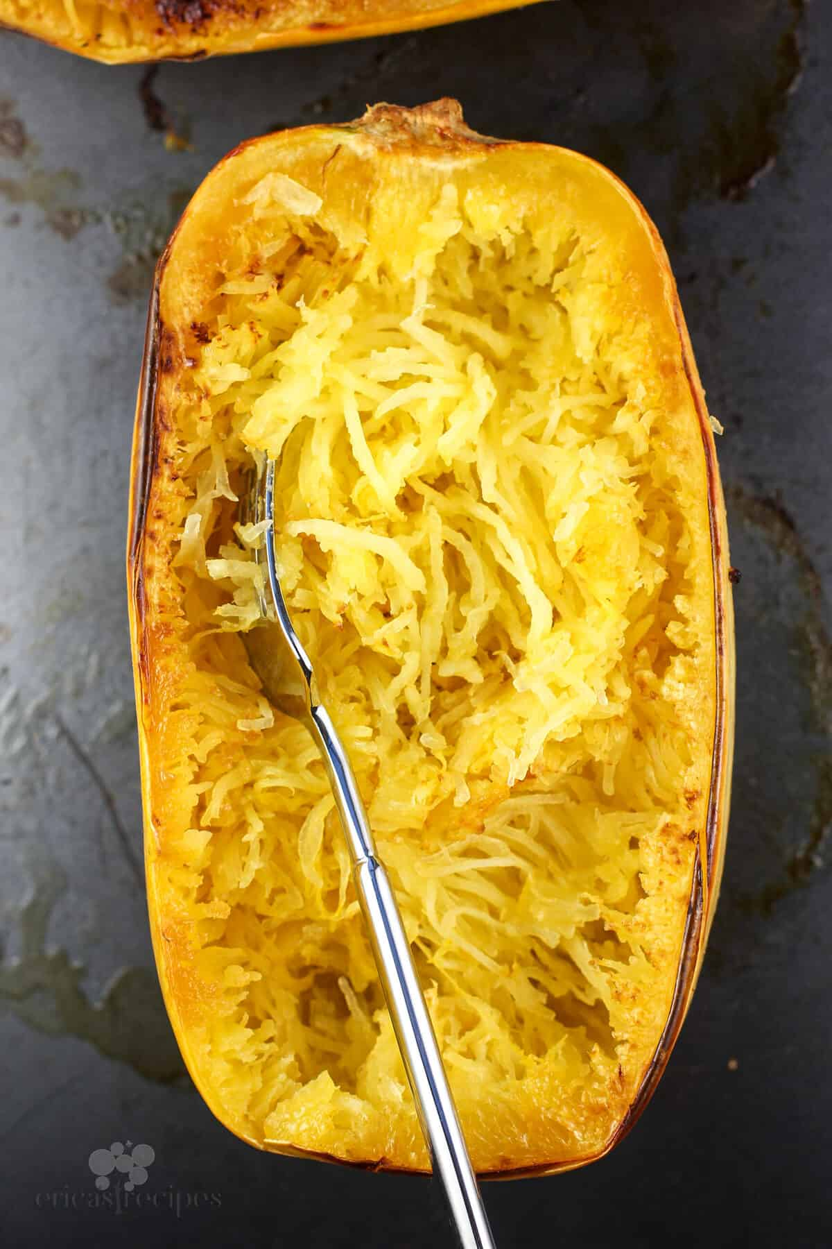 fork in cooked spaghetti squash
