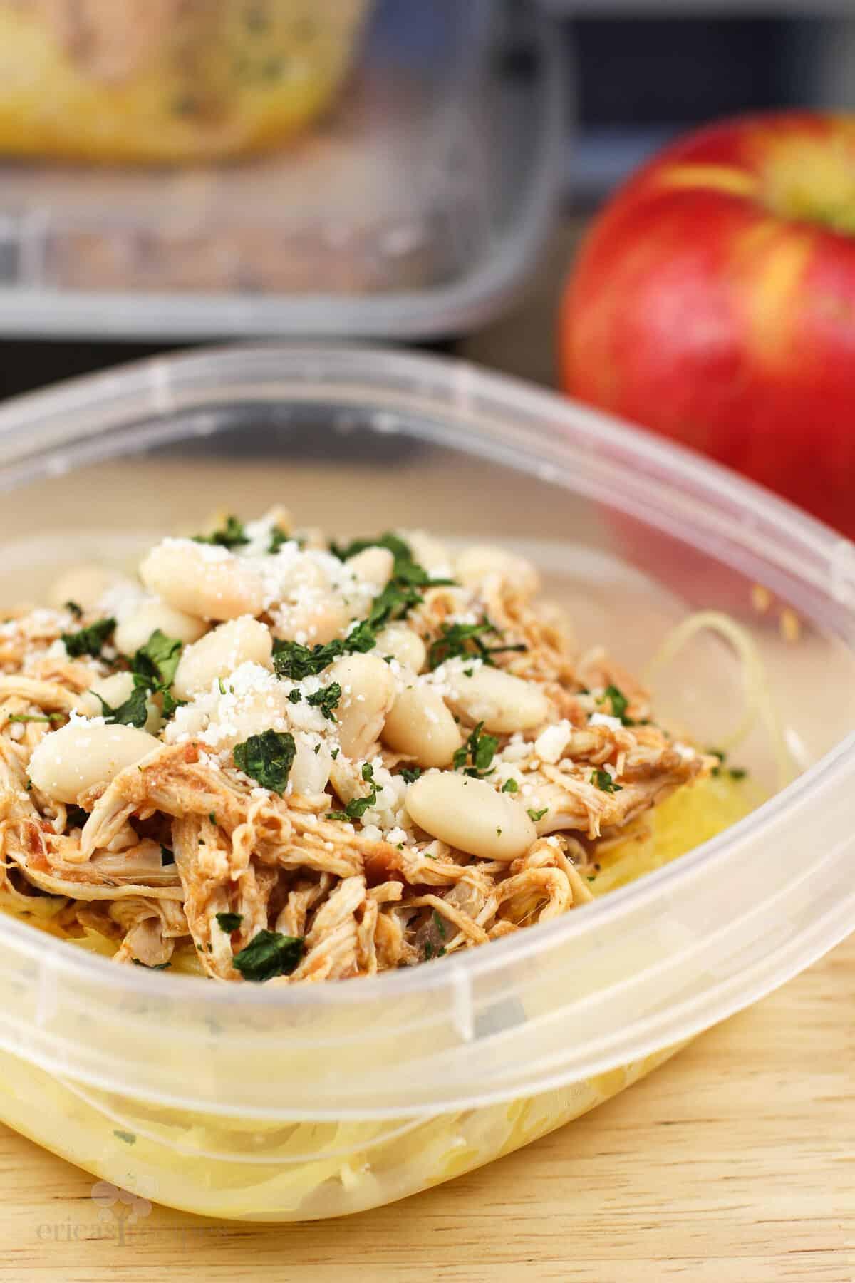 side view of chicken pizzaiola over spaghetti squash
