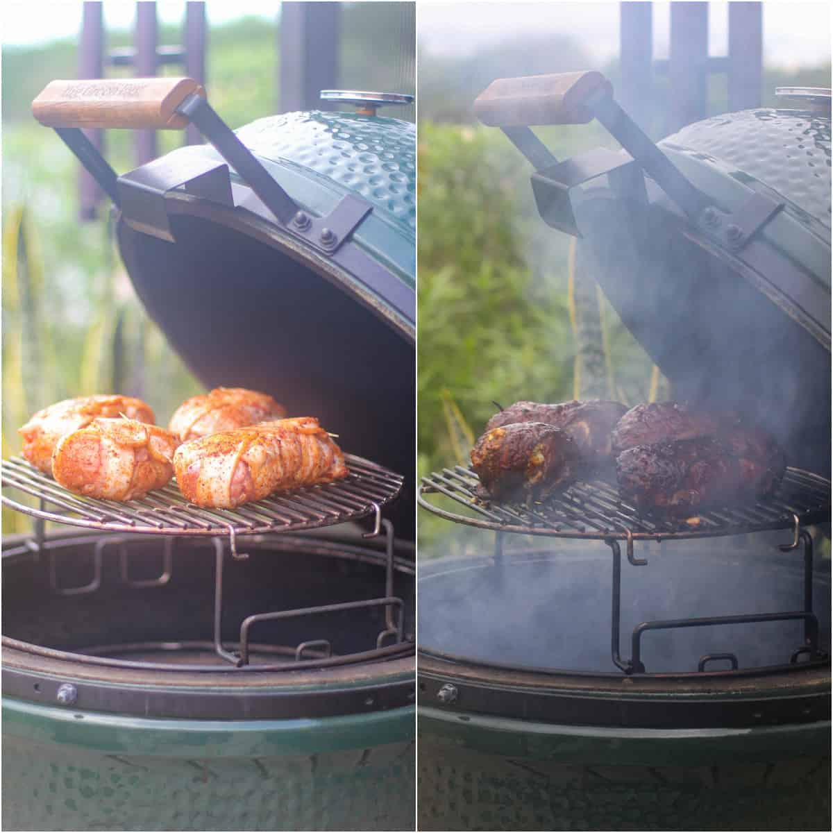 collage of 2 photos, before and after, chicken bombs on grill