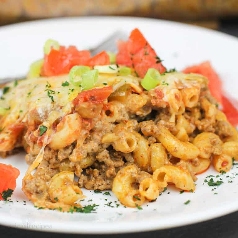 taco macaroni and beef on white plate