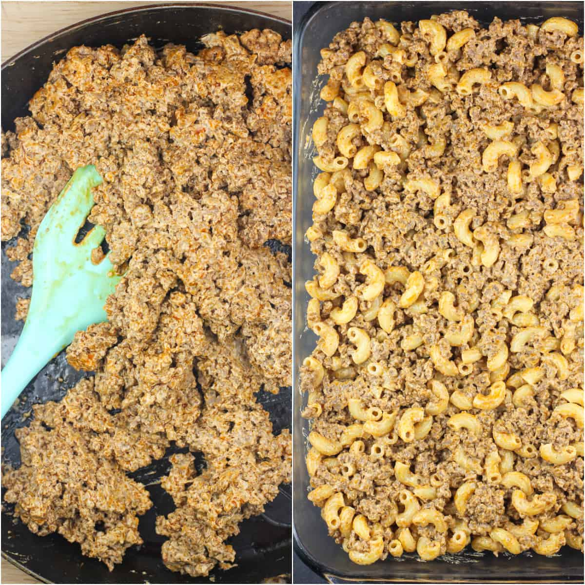 collage of 2 photos: left, beff-cream cheese mixture in skillet; right, beef and macaroni layer in back dish