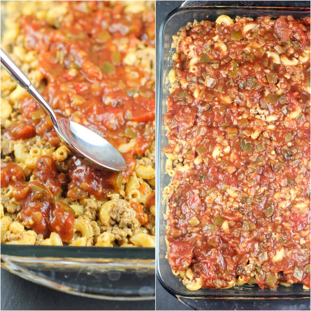collage of 2 photos: left, spoon spreading salsa on macaroni-beef; right; salsa topped casserole