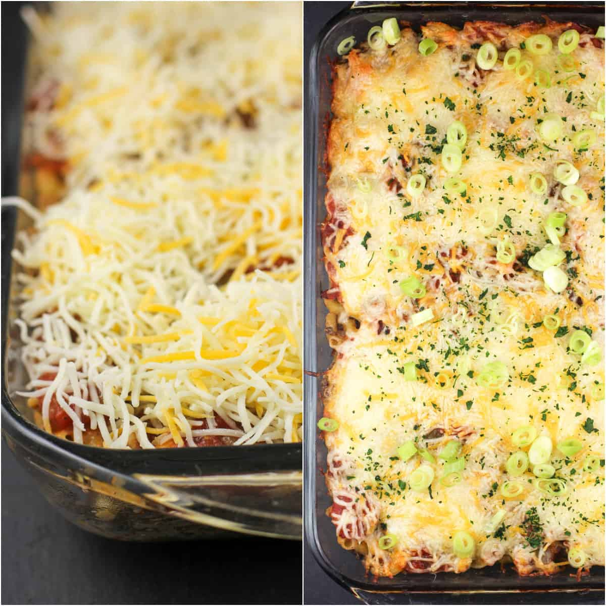 collage of 2 photos: left, cheese topped casserole; right, cooked casserole